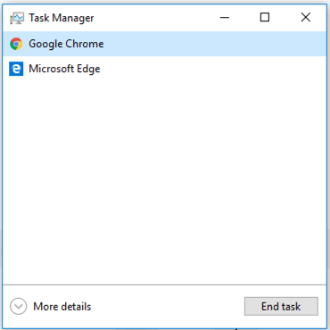 Task Manager in Windows 10 with Google Chrome selected