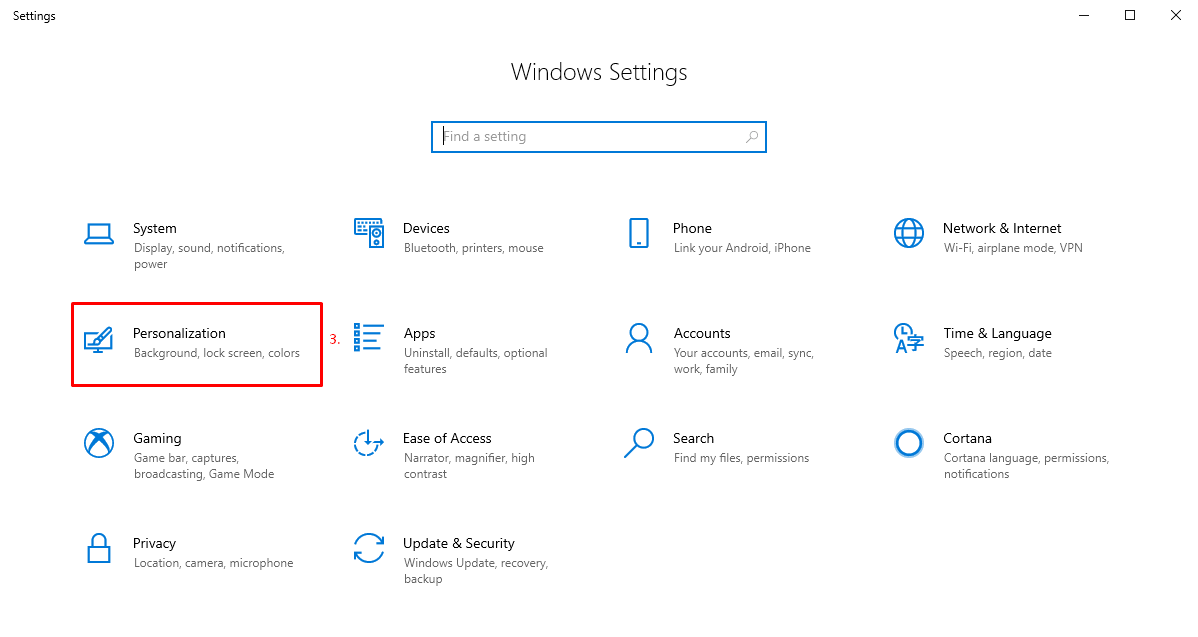 Get to Personalization in Windows 10