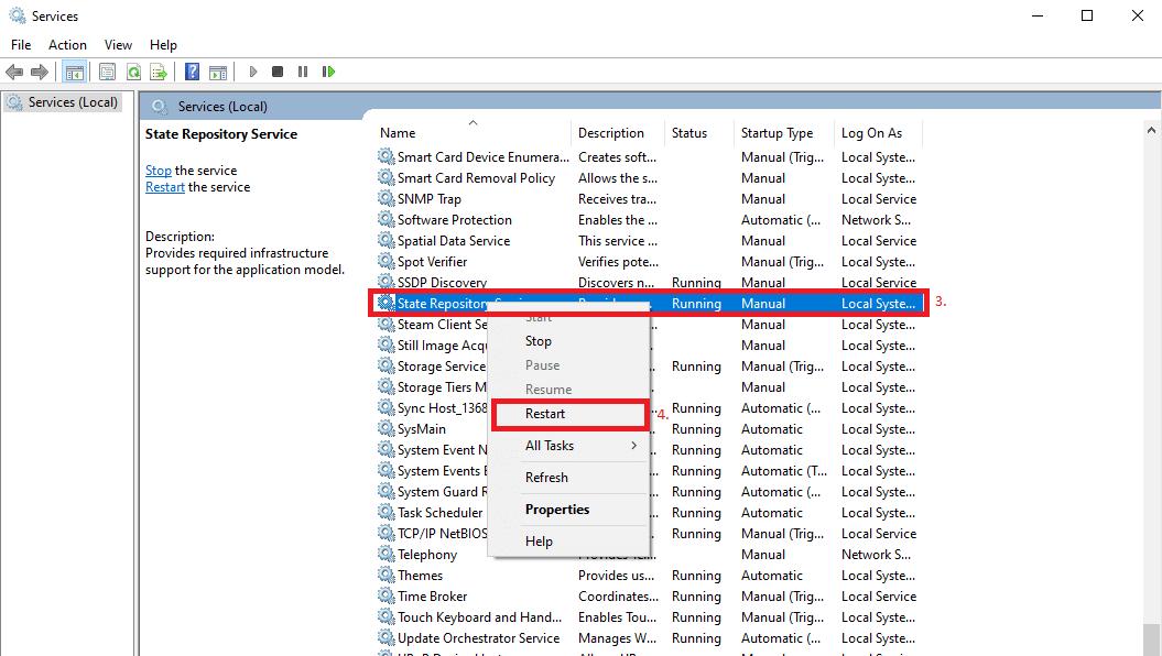 Restart State Repository Service in Windows 10