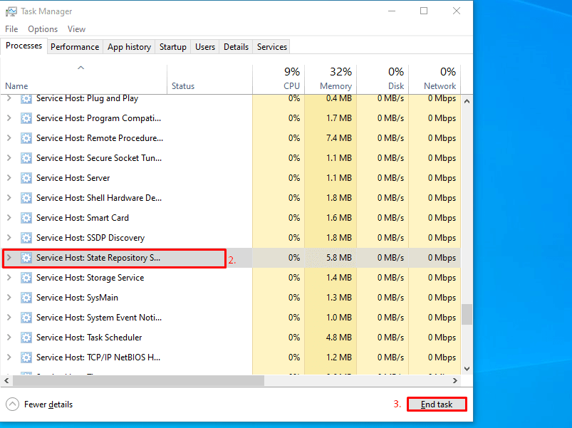 State Repository Service - End task in the Task Manager