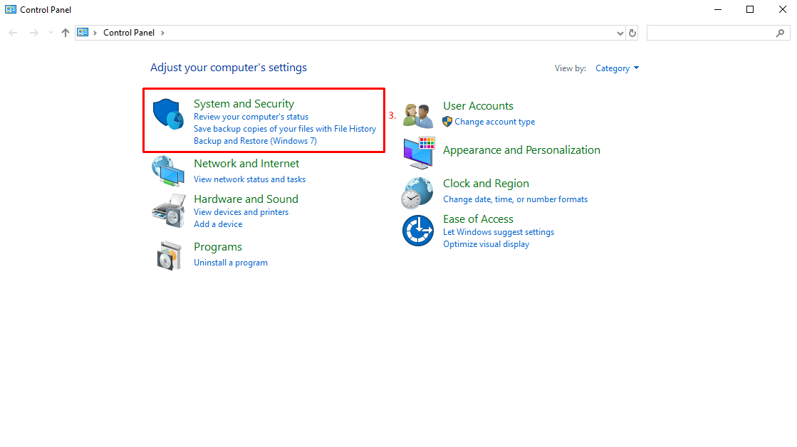System and Security in Windows 10