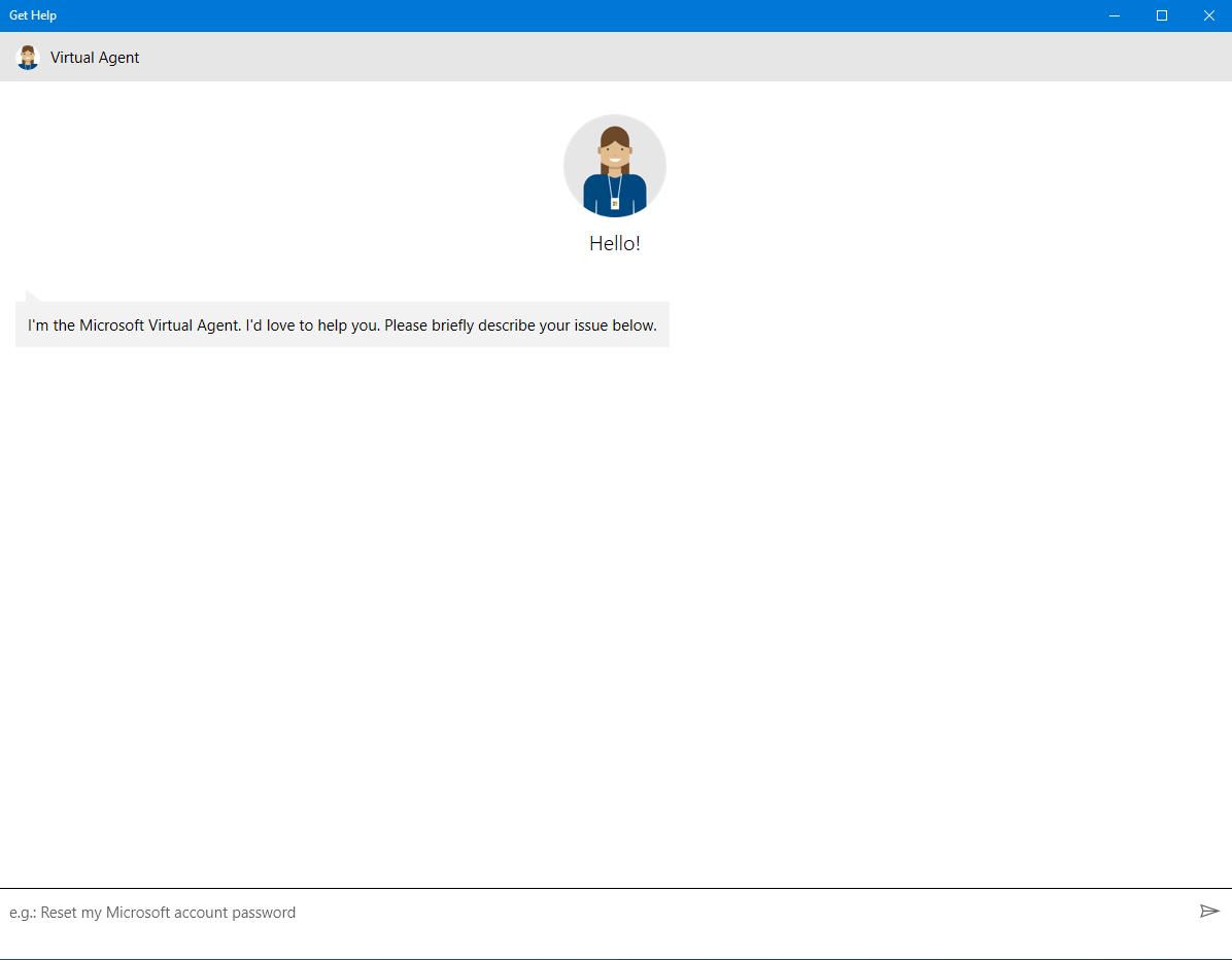 Microsoft Windows 10 Get Help virtual assistant