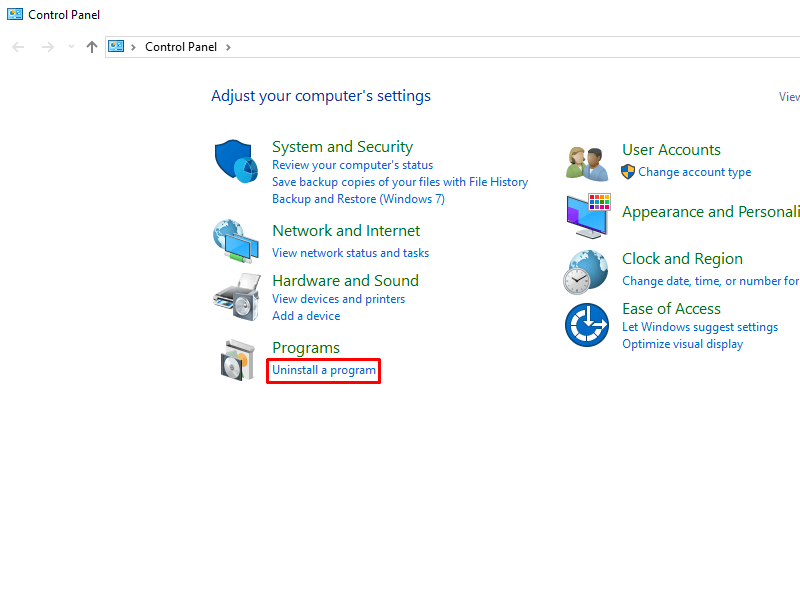 Click on Uninstall a program from the Windows 10 Control Panel
