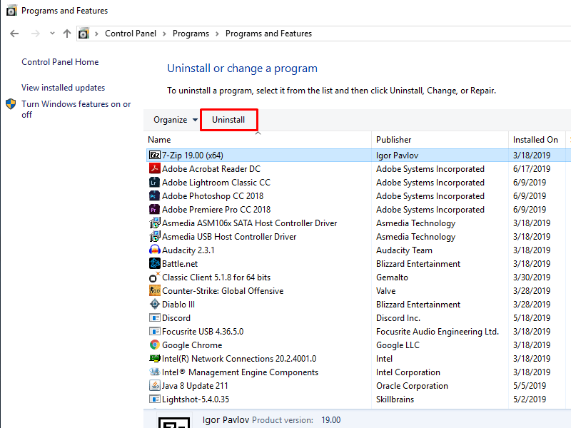 Select the program then click Uninstall to remove a program from Windows 10