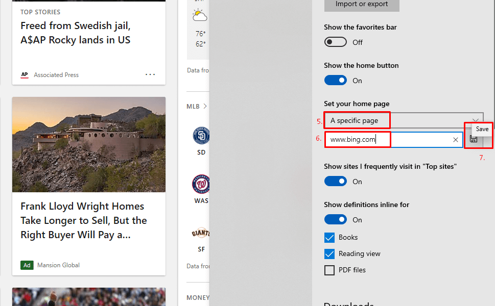Enter Bing's address to set it as the home page.