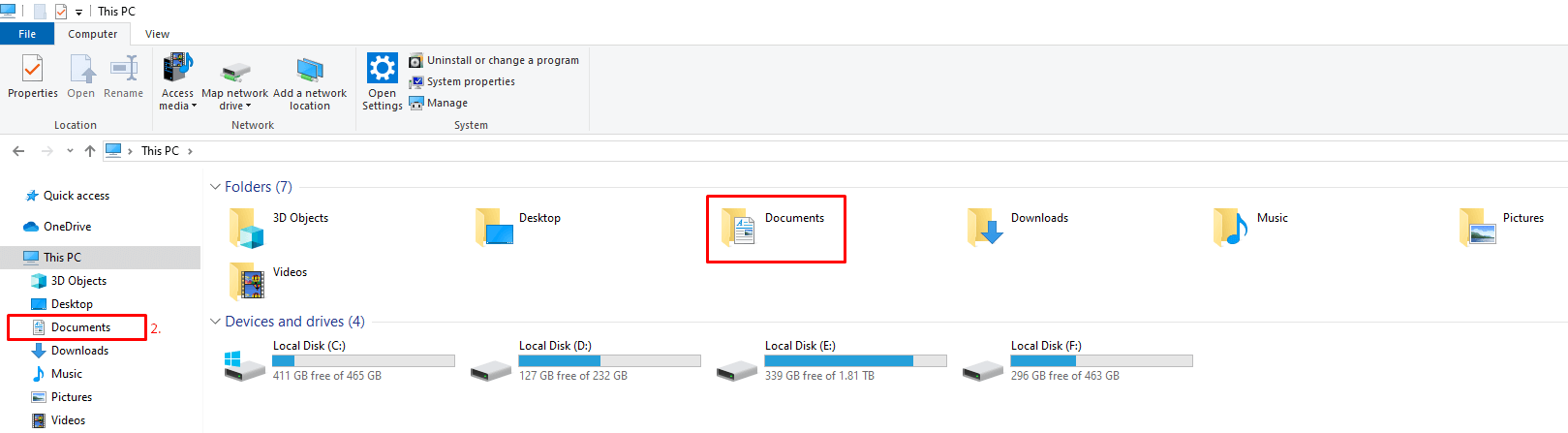 My Documents in File Explorer Windows 10