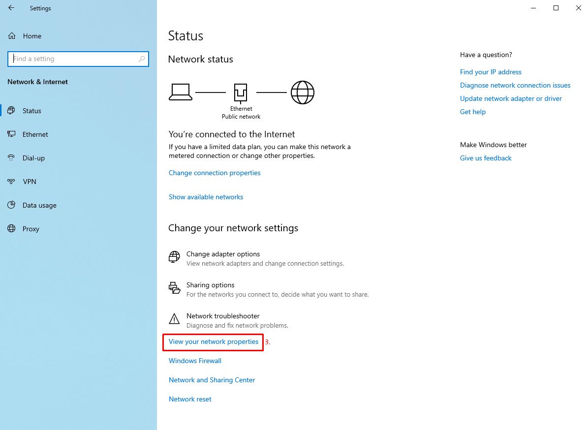 Network Properties in Windows 10