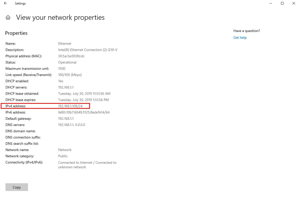 IP address in Windows 10