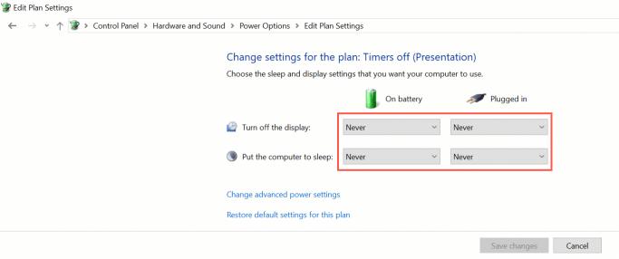Windows 10 power and sleep settings - set times for the display and computer to go to sleep