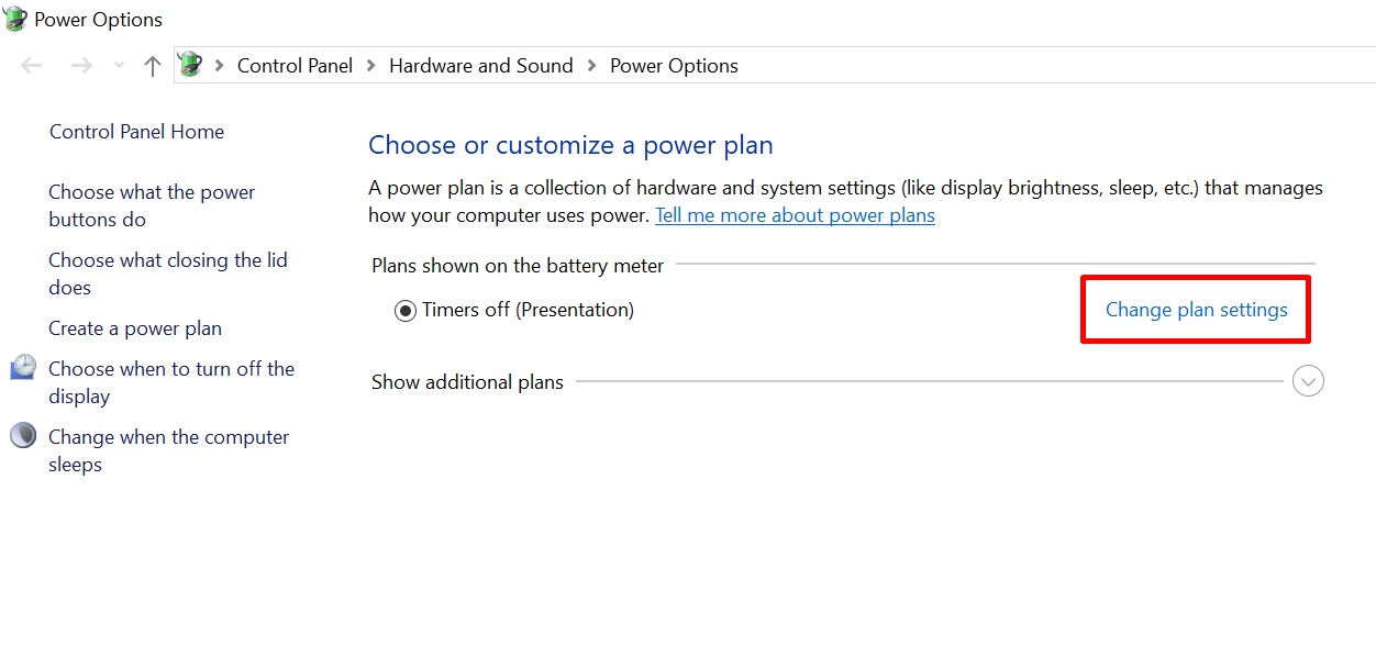 Windows 10 power and sleep settings - Change plan settings