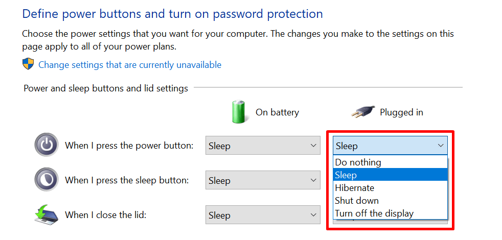 Change sleep and power plan settings in Windows 10 - power and sleep buttons