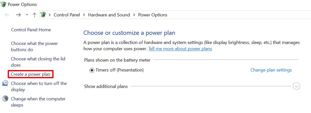 Create a custom sleep and power plan in Windows 10