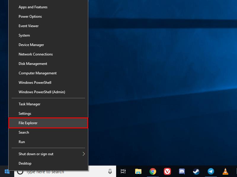 Open File Explorer in Windows 10.