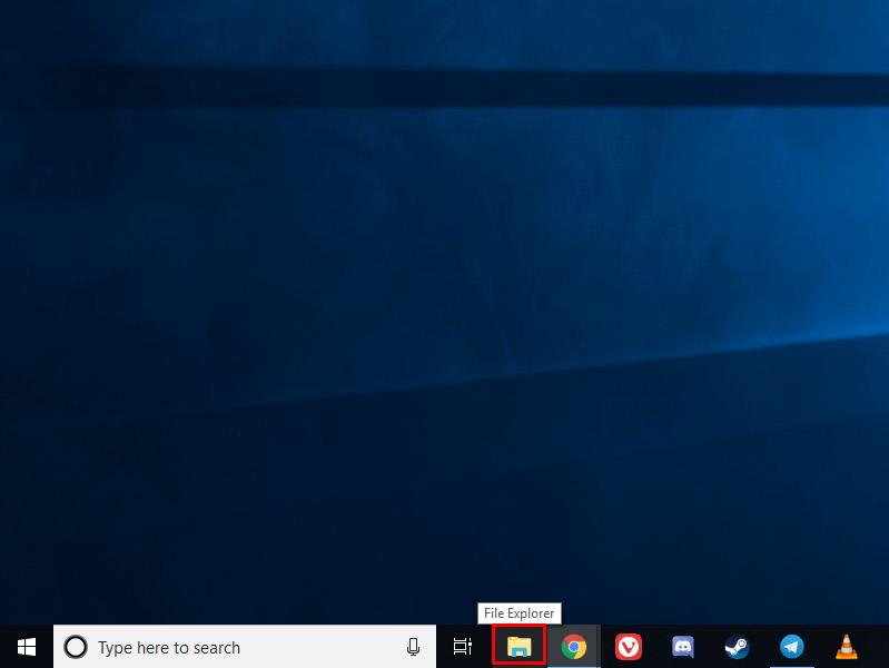 Accessing File Explorer from the taskbar