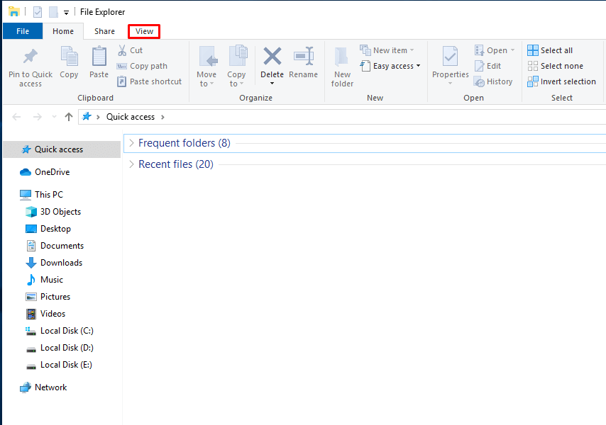 Click on the View tab in File Explorer.