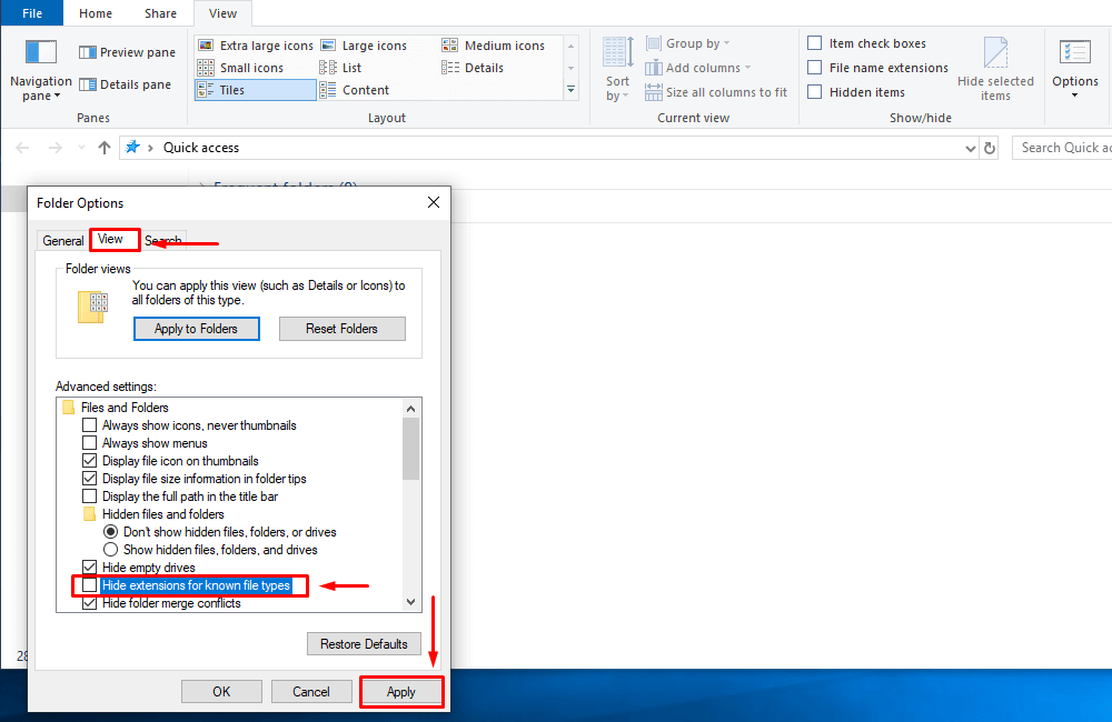 Change the setting to display extensions for known file types in the Folder Options in Windows Explorer