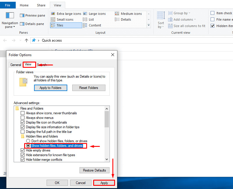 Select the Show hidden files, folders, and drives option