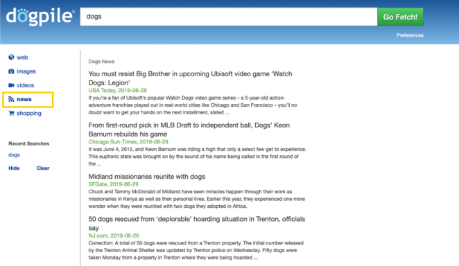 Dogpile search engine - search for news articles