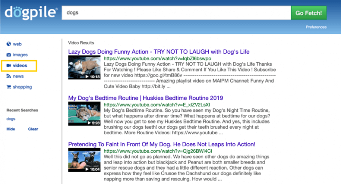 Dogpile search engine - video search results