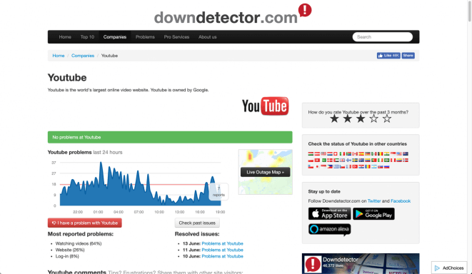 Videos not playing - is YouTube down? Check this on downdetector.com