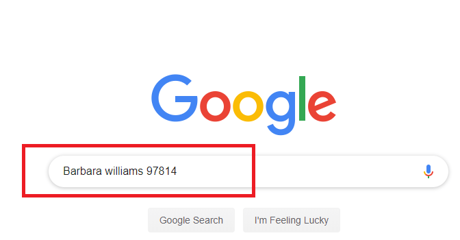 Google phone number lookup - searching with name and zip code