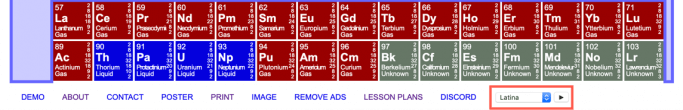 Changing the language settings of the ptable periodic table