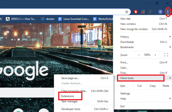 How to access Chrome extensions