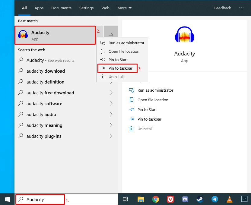 Use Windows 10 search to add an app to the taskbar