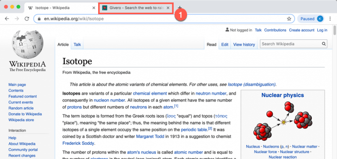 Click and hold on tab in Chrome then drag it out of this window